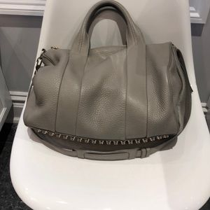 Alexander Wang Rocco Dumbo stud satchel bag. Grey